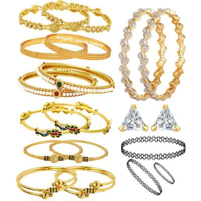Jewels Galaxy Combo Of Designer Pearl Bangles, Mayur Bangles and Trendy Gold Plated Bangles With Earrings & Choker Set