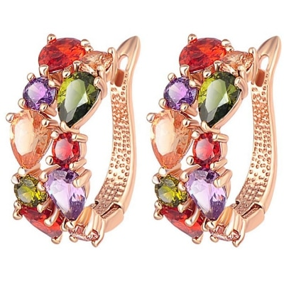 Jewels Galaxy Sparkling Colors Flowerets Vine Swiss Cubic Zirconia 18K Rose Gold Plated Hoop Earrings for Women
