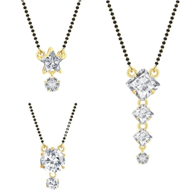 Jewels Galaxy Elegant AAA American Diamond Combination of Circular, Squares And Star Shaped Stunning 3 Mangalsutra Set For Women