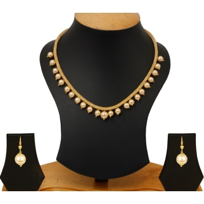 Jewels Galaxy American Diamond Filled Gold Net Chain With Pearls Drops Necklace Jewellery Set