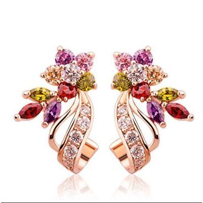 Jewels Galaxy Sparkling Colors Flowerets Vine Swiss Cubic Zirconia 18K Rose Gold Plated Hoop Earrings for Women