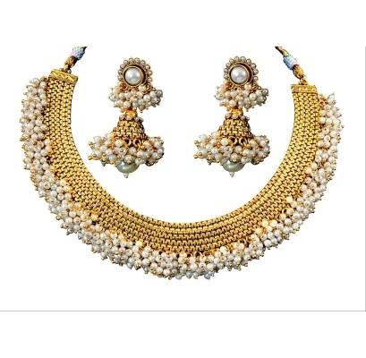 Jewels Galaxy Beautiful Polki Set With White Pearls