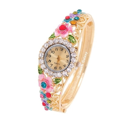 Jewels Galaxy Multicolor Gold Plated Charm Bracelet Watch For Women