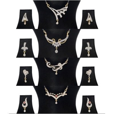Jewels Galaxy White Gold-Plated Combo Of 4 Mangalsutra & Earrings Set For Women