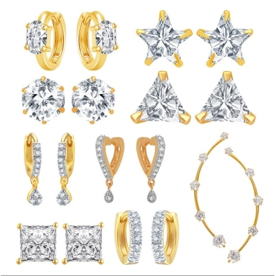 Jewels Galaxy Bestselling Combos Of Fancy American Diamond Earrings And 1 Earcuff - Combo Of 9
