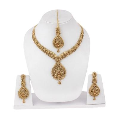 Jewels Guru  Exclusive   Golden  Necklace  Set .