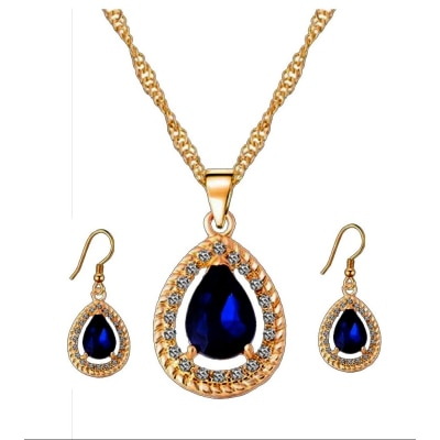 Kaizer Jewelry Dark Blue Sterling Silver Plated AAA High Quality Swiss Cubic Zircon Pendant Set for Women / Girls (Valentine Special Gift)