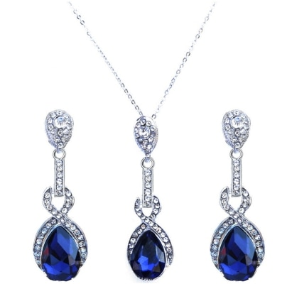 Kaizer Jewelry Dark Blue Sterling Silver Plated AAA High Quality Austrian Crystal Pendant Set for Women / Girls (Valentine Special Gift)