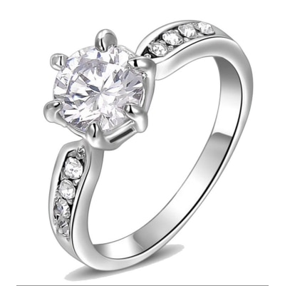 Kaizer Jewelry 18K White Gold Plated Proposal Ring