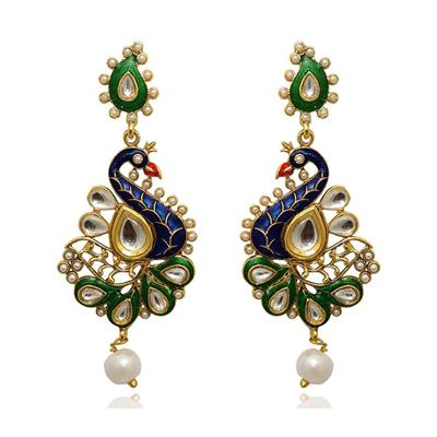 Kriaa Multicolor Colour Gold Plated Dangle Earrings For Women