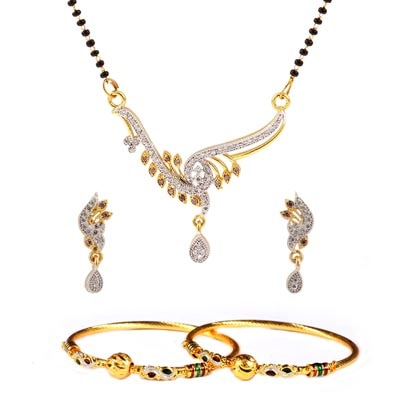 Luxor Golden Combo Of Mangalsutra Set And Bangles Set