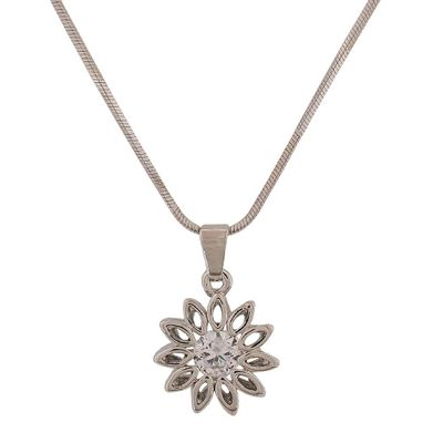 Maayra American Diamond Pendant Smart Silver Casual Dailywear Jewellery