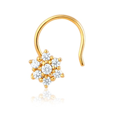Mahi CZ Collection Gold Plated Daisy Bloom Fashion Nose Ring for Womens NR1100124G