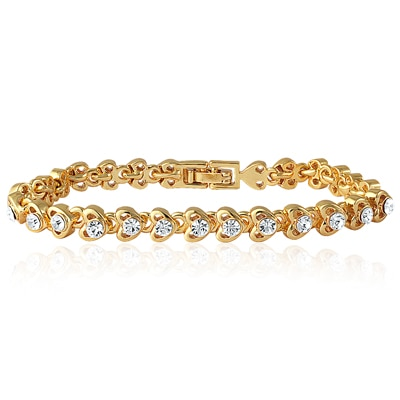 Mahi Gold Plated Tiny Hearts Bracelet For Women Br1100128G