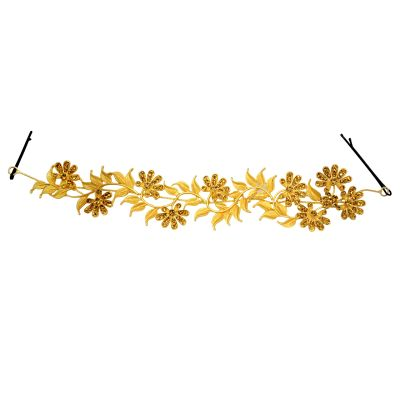 Mansiyaorange Metal Work Floral Funky Designer Latest Foldable Multi Purpose Party Wedding Wear Golden Hair Accessory/hair Comb/hair Clip/hair Tiarra Hair Band For Girls And Women