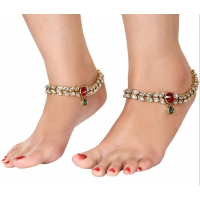 MAROON GREEN STONE STUDDED GOLD PLATED ANKLET FOR WOMEN