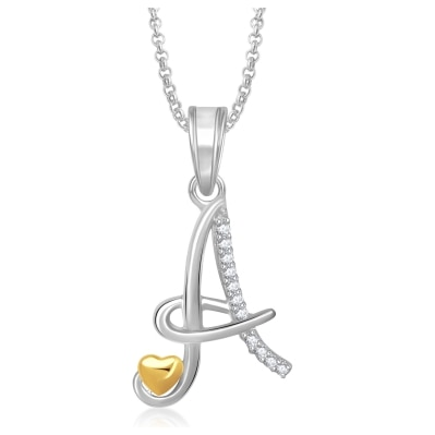 Meenaz 'A' Letter Heart Pendant Locket Alphabet For Women And Men With Chain Gold Plated In American Diamond Cz Jewellery Set Love Valentine Gifts Ps339