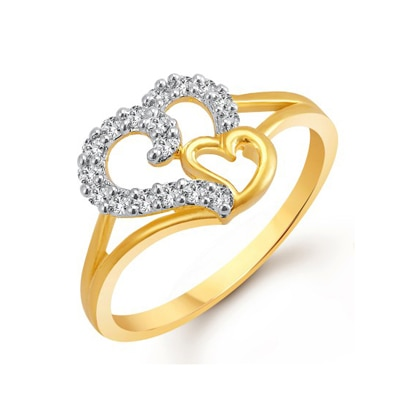 Meenaz Heart Ring For Girls & Women Gold Plated In American Diamond FR401