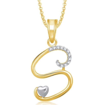 Meenaz 'S' Letter Pendant Locket Gold Plated Alphabet Heart For Men And Women With Chain Ps326