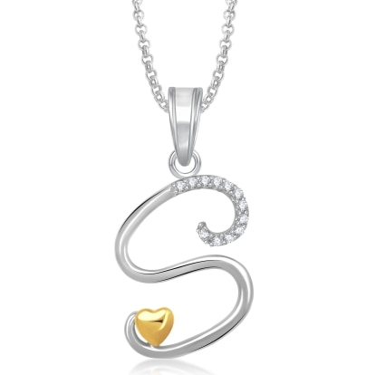 Meenaz 'S' Letter Heart Pendant Locket Jewellery Set Love Valentine Gifts Ps340