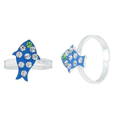 Memoir Silver plated Blue Meena Fish design, white CZ studded free size adjsutable Toe ring