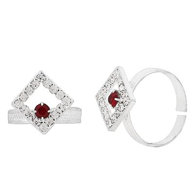 Memoir Silver plated Square kite shape design White and Deep Red CZ Adjustable Toe ring for Women
