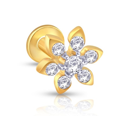 Malabar Gold & Diamonds  Mine Diamond Nosepin Np51185 Nose Pins +Free Gold Coin On Purchase of Rs.10,000