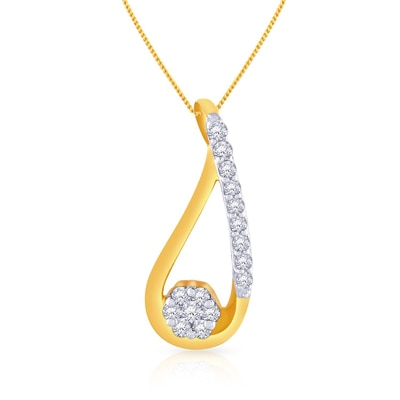 Malabar Gold and Diamonds Mine Diamond Pendant P152120 +Free Gold Coin On Purchase of Rs.10,000