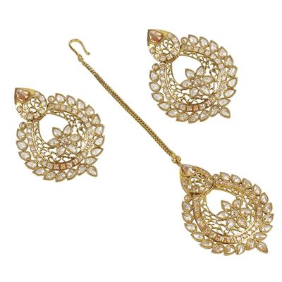 MUCH MORE Exclusive Golden Polished Earrings With Maang Tikka For Women Wedding Wear Jewellery