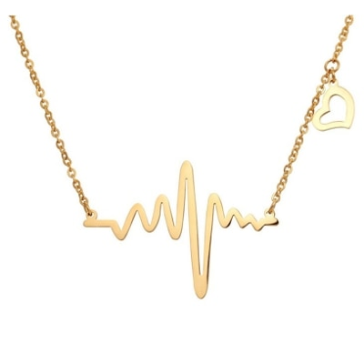 Om Jewells Gold Plated Heartbeat Love Forever Pendant For Women & Girls Pd1000807