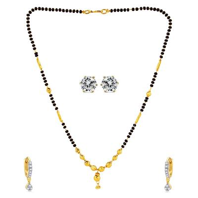Panash Gold Grace Mangalsutra Set with 2 Pair of Earings