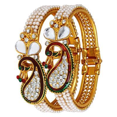 Panash Gold Grace Ethnic Pearls Bangle Set for Women (Free Size)