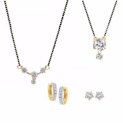 Parijaat Combo Of Cz 2 Mangalsutra & 2 Pair Of Earrings