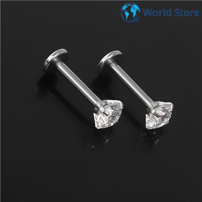 Phenovo 2x Crystal Rhinestone Nose Ring Bone Stud Surgical Steel Body Pierce Jewelry