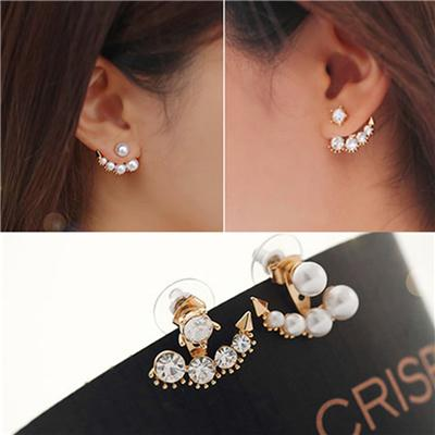 Phenovo Fashion Elegant Faux Pearl Rhinestone Crystal Ear Stud Earrings Jewelry Gold