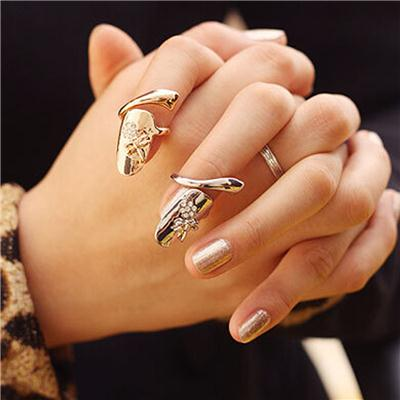 Phenovo Fashion Punk Dragonfly Flower Rhinestone Jewelry Finger Tip Nail Ring Gold
