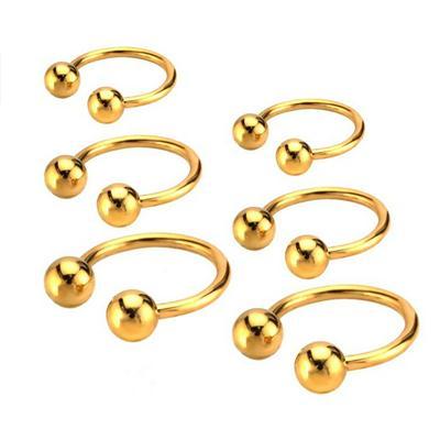 Phenovo Fashion Stainless Steel Ball Horseshoe Bar Lip Nose Septum Ear Rings Gold