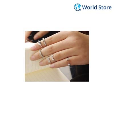 Phenovo Silver Set Of 6 Rings Tail Knuckle Joint Ring Rhinestone Alloy