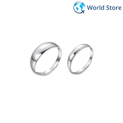 Phenovo Silver Plated Smooth Simple Adjustable Couple Rings Fashion Lover Jewellery