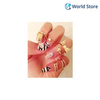 Phenovo Skull Bowknot Heart Design Simple Nail Band Mid Finger Rings Set 7pcs Gold