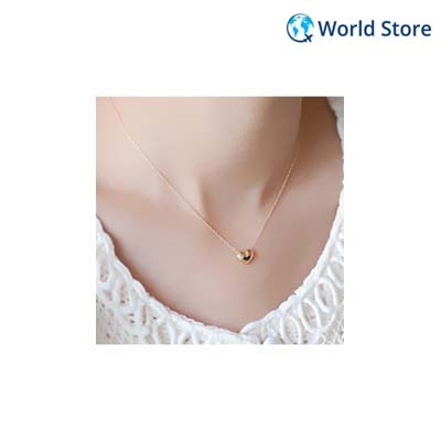Phenovo Tiny Elegant Small Gold Love Heart Cute Necklace Present Gift Jewelry Gold
