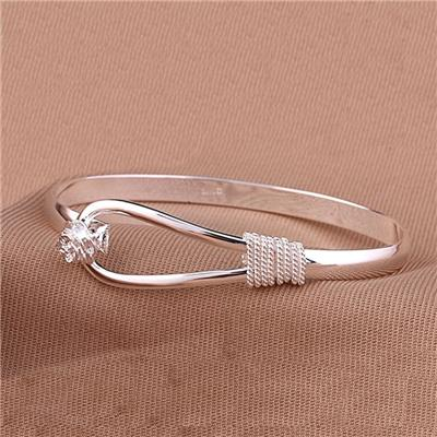 Phenovo Women Silver Elegant Clip-on Button Floral Bracelet Bangle Jewelry Gift