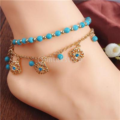 Phenovo Women Anklet Bead Chain Ankle Bracelet Barefoot Sandal Beach Foot Jewelry