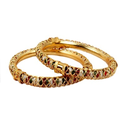 Pourni Gold Plated Bangles-Set of 2