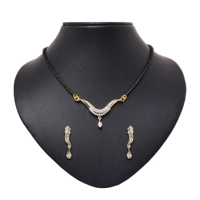 Pourni Golden And Black Mangalsutra Set