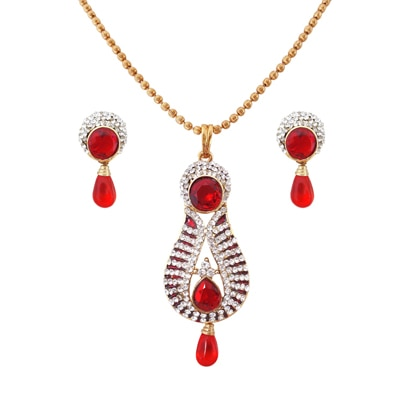 Rich Lady Pink Alloy Pendant Set