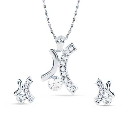 Rich Lady Silver Pendant Set With Chain
