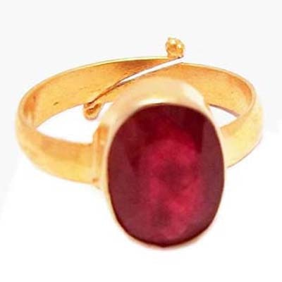 RS Jewellers Gold Plated Adjustable Ring Studded With Natural Ruby