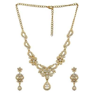 Sia Art Jewellery White Alloy Necklace Set