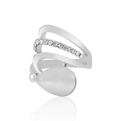 Silver Plated Crystal Pearl Ring